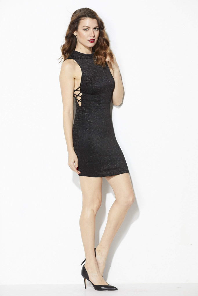 ASTR - Sparkle Mock Neck Dress =Front