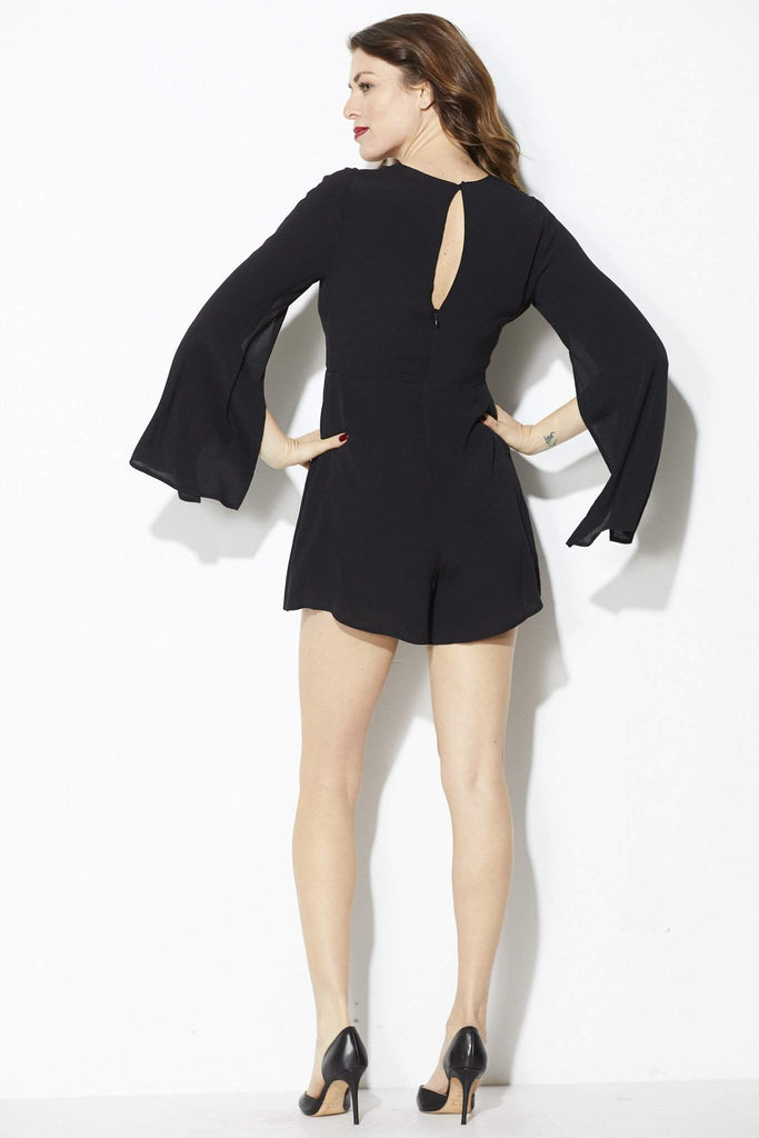 ASTR - Black Slit Sleeve Romper - Back