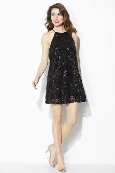 Everly - Black High Neck Sequin Dress - Front