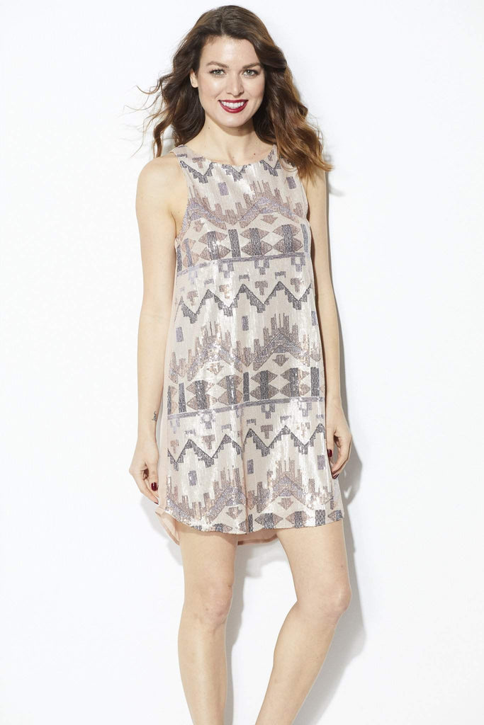 Everly - Rose Gold Sequin Dress - Front