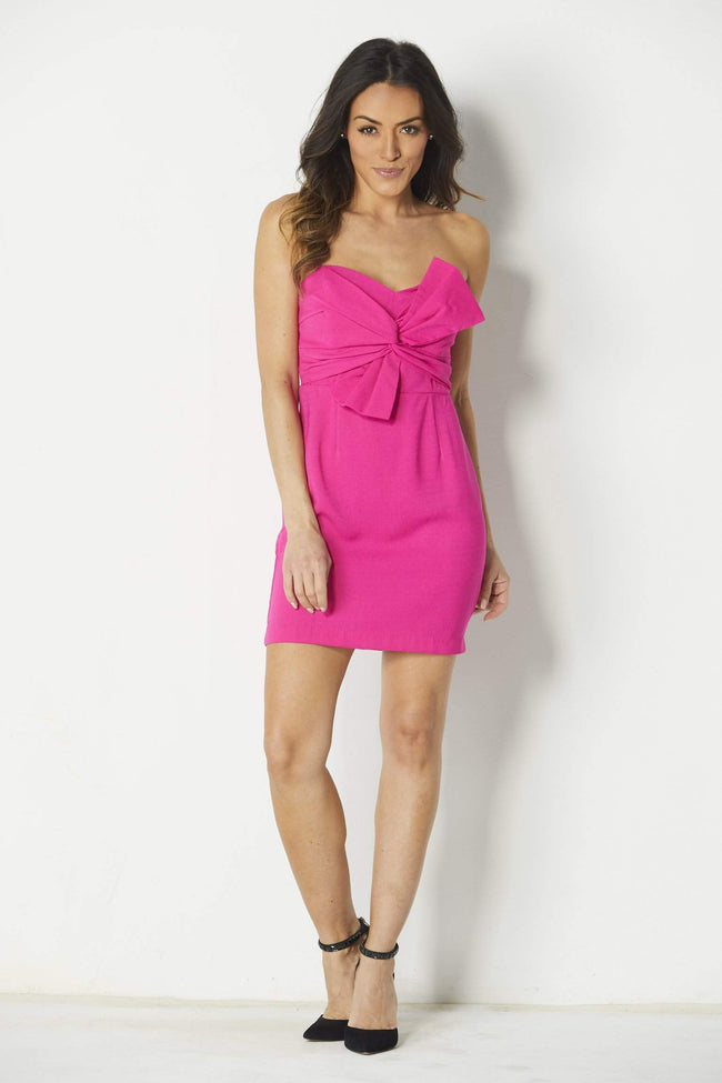 Lush Fuscia Bow Dress - Front