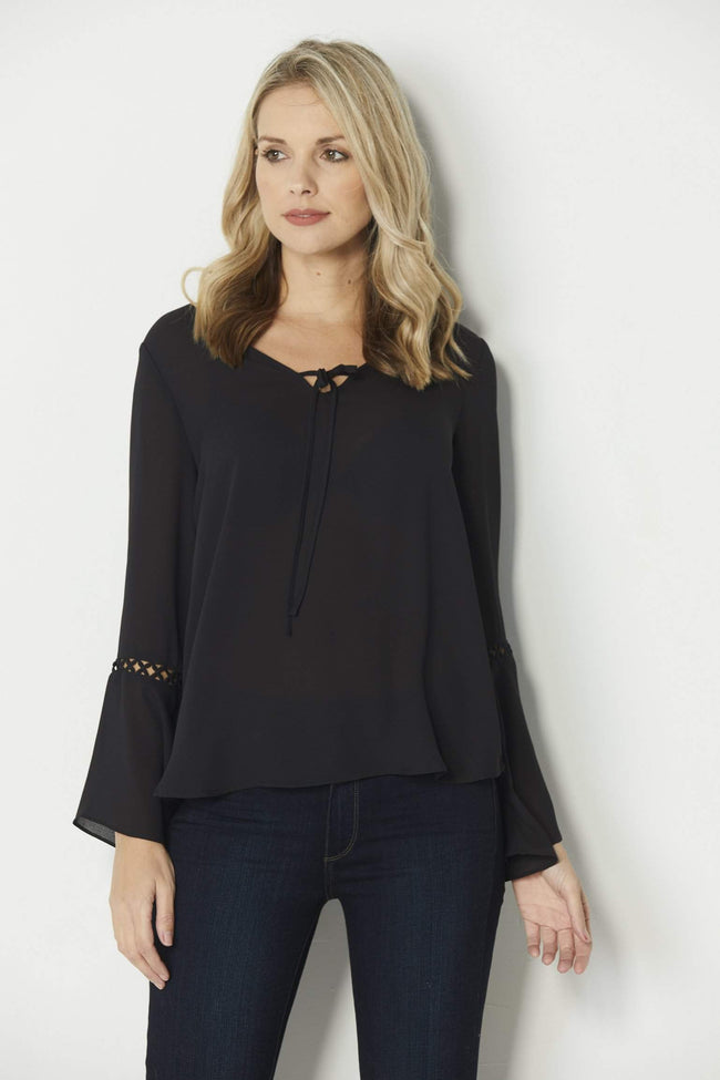 Olive + Oak Black Bell Sleeve Blouse - Front