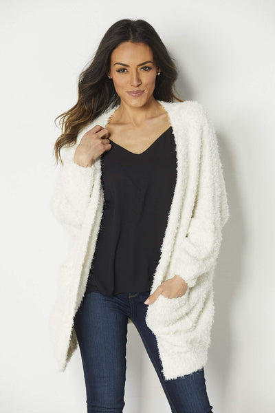 Mod Ref Cream Plush Cardigan - Front