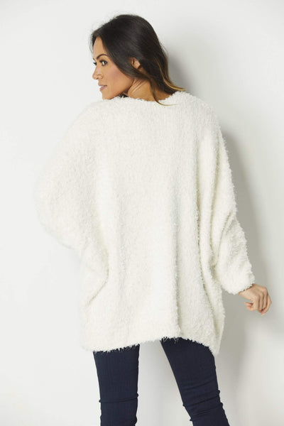 Mod Ref Cream Plush Cardigan - Back