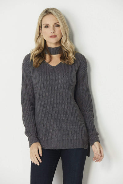 Elan Charcoal Choker Sweater - Front