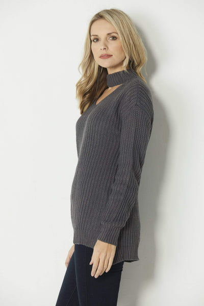 Elan Charcoal Choker Sweater - Side