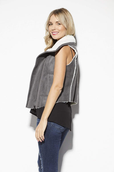 Olive + Oak Gray and White Fur Vest - Back