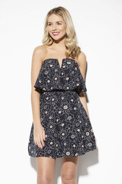 J.O.A Navy Floral Print Dress - Front