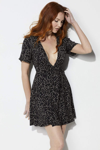 Lush Black Wrap Dress - Front