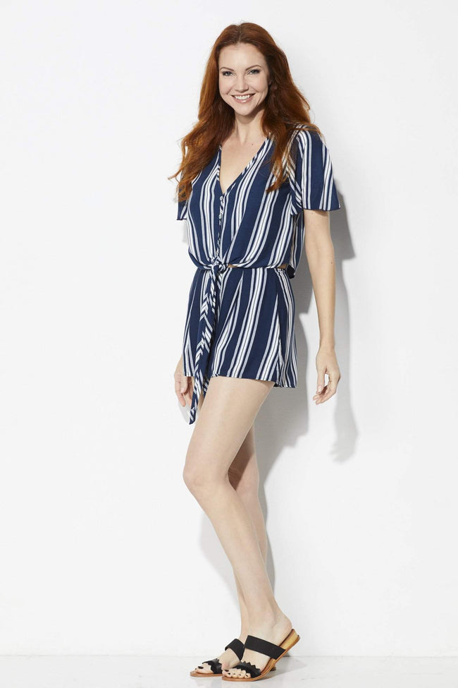 Show Me Your MuMu Sawyer Shorts in Navy Stripe Breeze - Front View