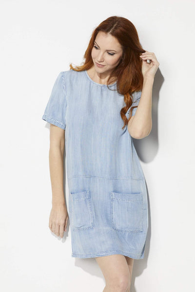 Laju Light Wash Shift Dress - Front