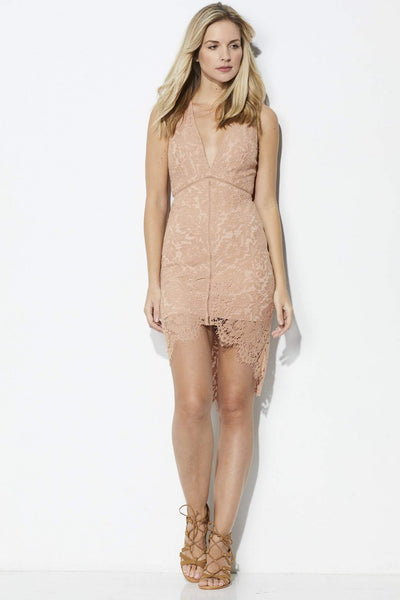ASTR Blush Lace Overlay Dress - Front View