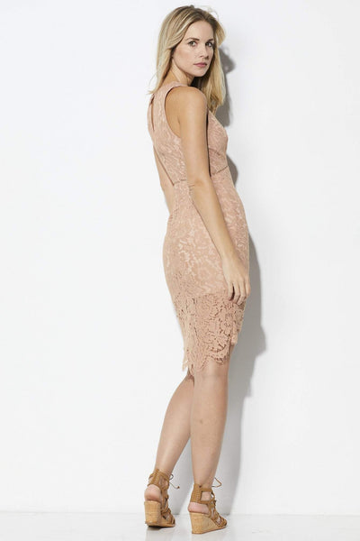ASTR Blush Lace Overlay Dress - Side View