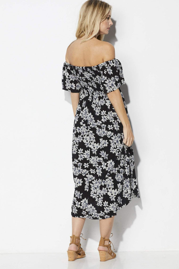 Loveriche Off the Shoulder Floral Midi - Back View