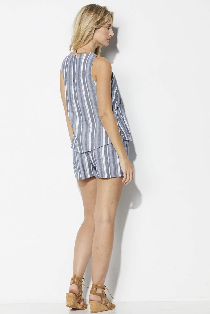 Coverii Stripe Patterned Top - Back View