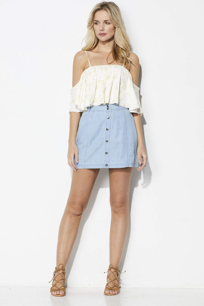 Jack Chambray Button Down Skirt - Front View