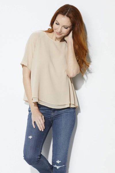 FRNCH Blush Pleated Top - Front