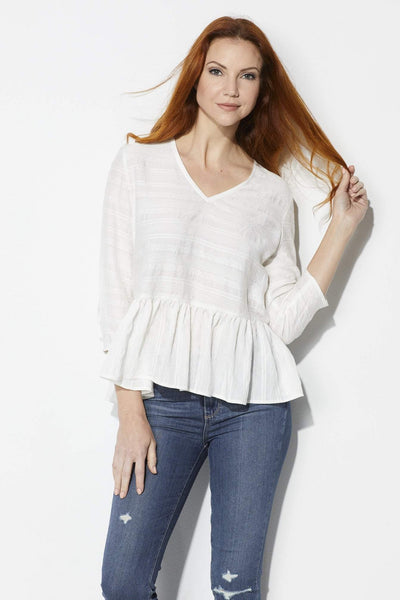 FRNCH Ivory Peasant Top - Front