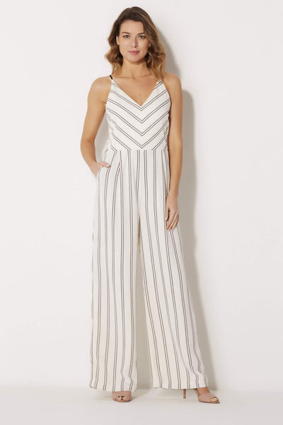 Adelyn Rae - Woven Stripe Jumpsuit - front