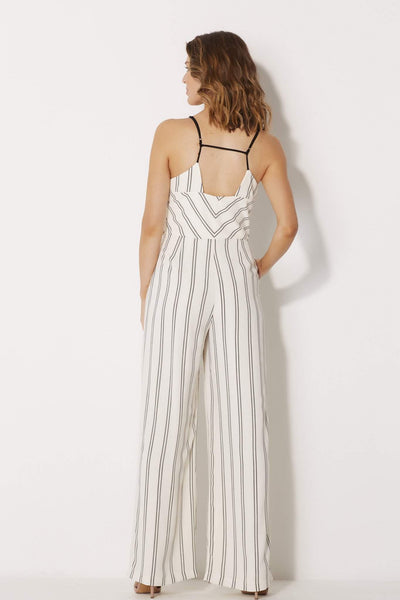 Adelyn Rae - Woven Stripe Jumpsuit - rear