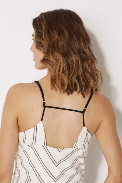 Adelyn Rae - Woven Stripe Jumpsuit - rear close up