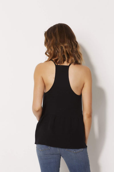 Black Crepe Racer Back Tank