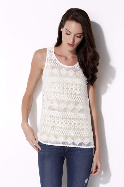 Ivory Lace Cut Out Tank