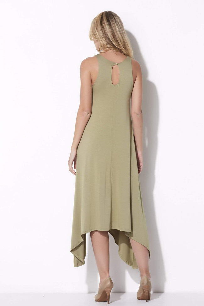 Asymmetrical Muted Olive Dress