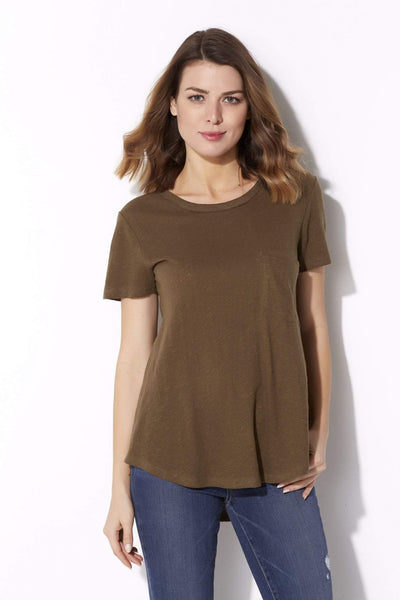 Olive Scoop Neck Pocket Tee