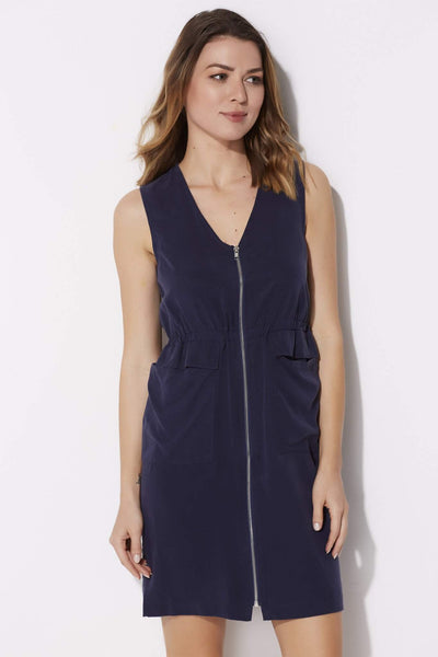 Navy Zip Dress with Pockets