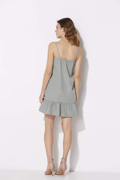 Sage Spaghetti Strap Ruffle Bottom Dress