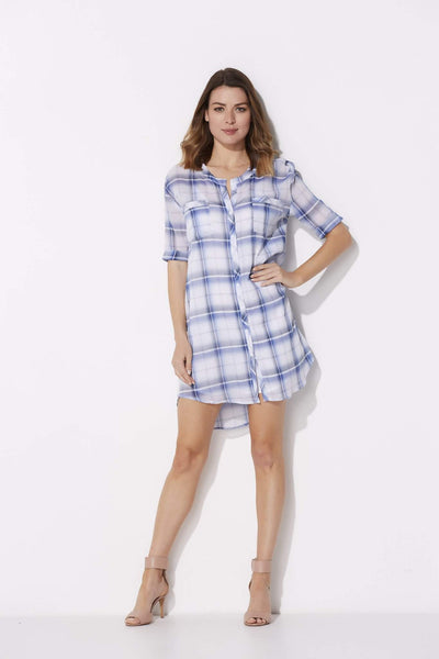 BB Dakota - Cuffed Plaid T-Shirt Dress