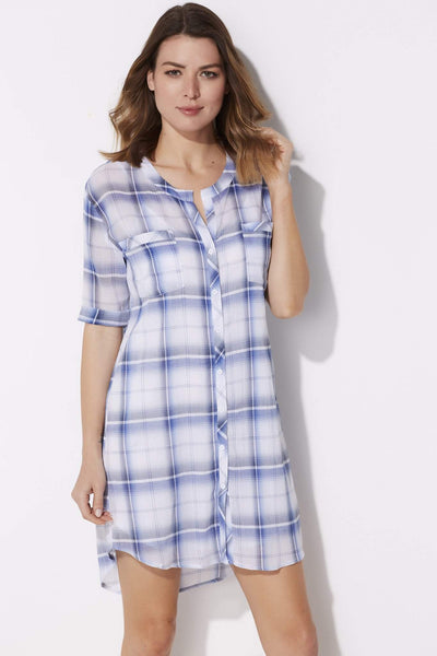 BB Dakota - Cuffed Plaid T-Shirt Dress - front