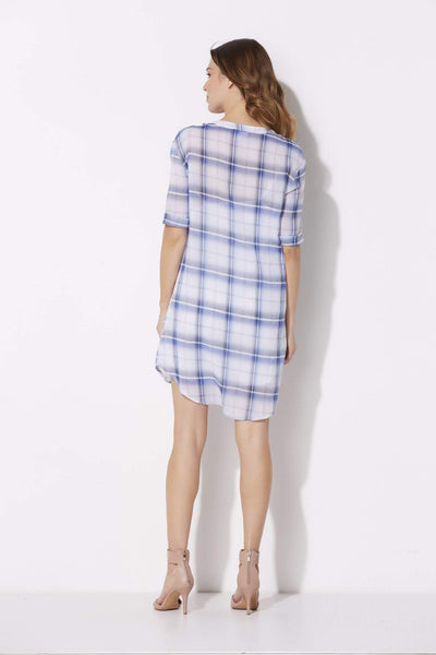 BB Dakota - Cuffed Plaid T-Shirt Dress - rear