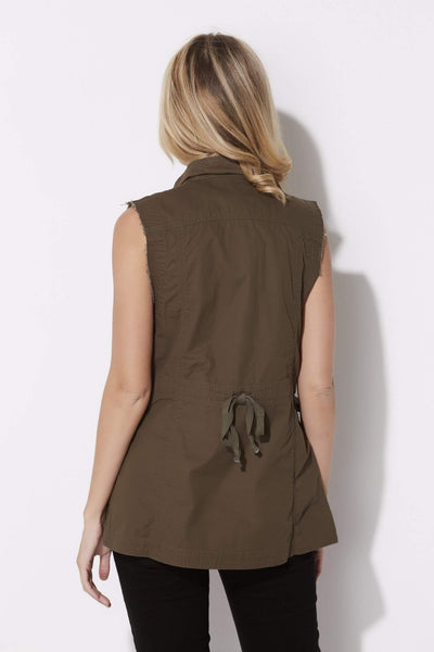 Bishop + Young - Olive Cargo Vest - rear