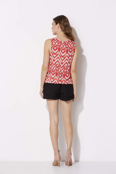 Coral Print Crossover Top