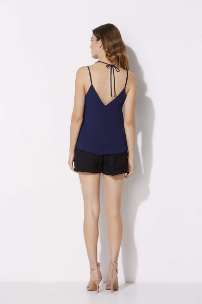 Navy Sleeveless Tie Top