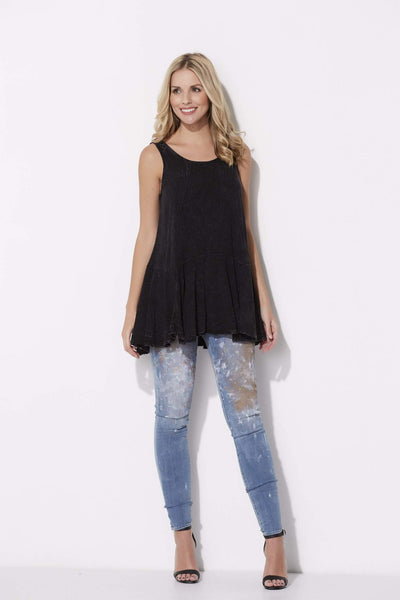 Faded Black Handkerchief Top