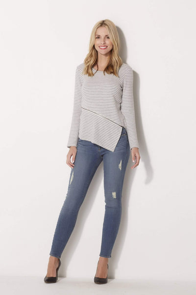 Asymmetrical Stripe Zip Top
