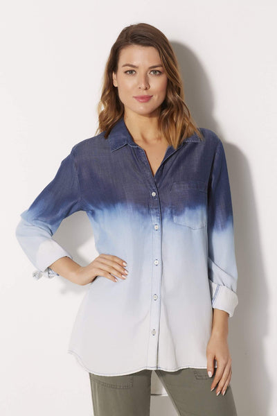 Bella Dahl Ombre Single Pocket Button Down - front