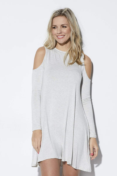 Elan Striped cold shoulder dress - Front
