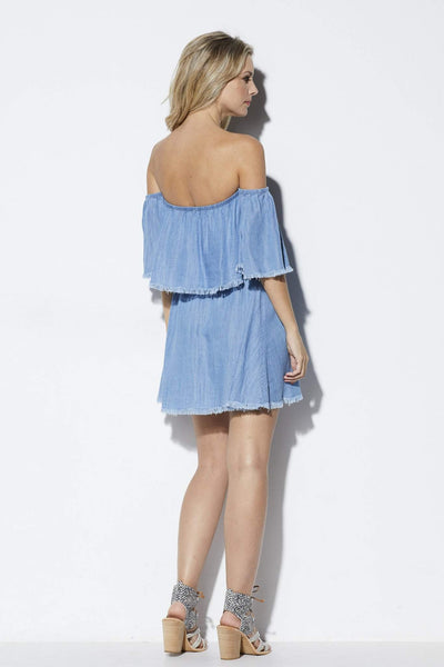 Elan Fringe Chambray Dress - Back