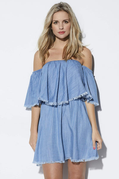 Elan Fringe Chambray Dress - Front