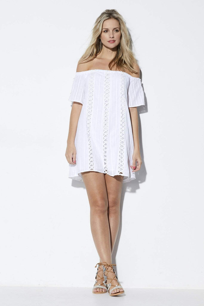 Lucca White Off the Shoulder Dress - Front