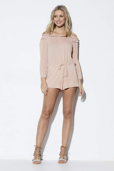 Lucca Couture Blush Off the Shoulder Romper  - Front