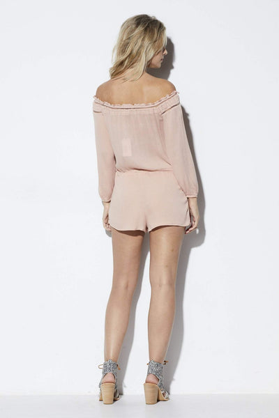 Lucca Couture Blush Off the Shoulder Romper - Back