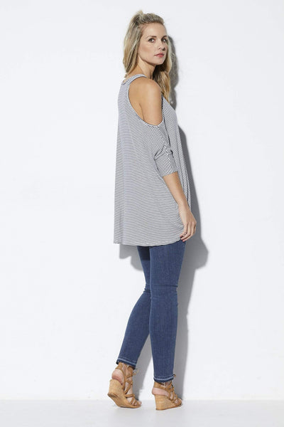 Elan Navy and white striped hi-lo top - Side