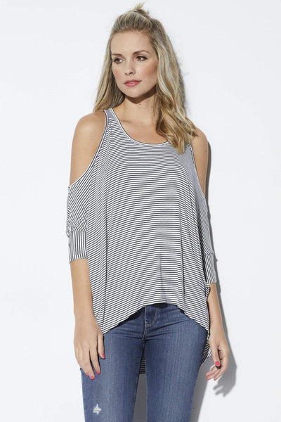 Elan Navy and white striped hi-lo top - Front