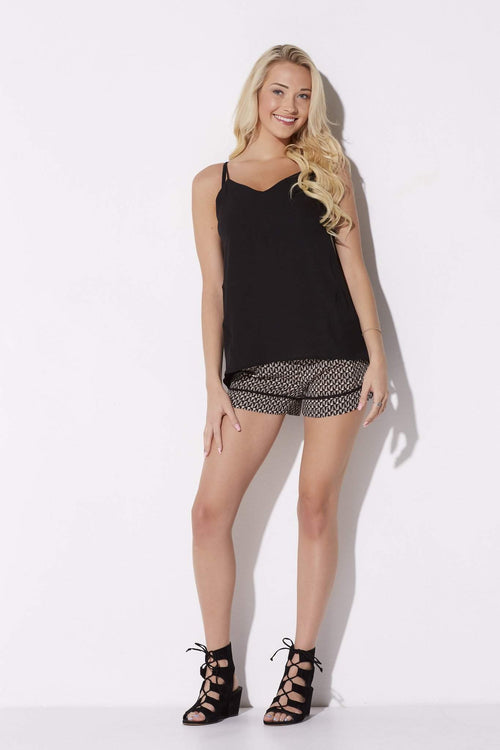 Black & Taupe Printed Shorts