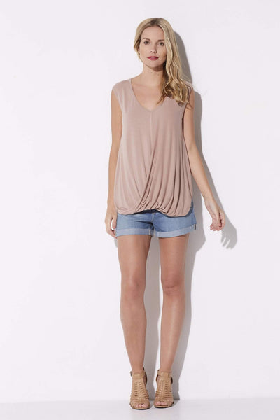 Sleevless Taupe Surplice Top